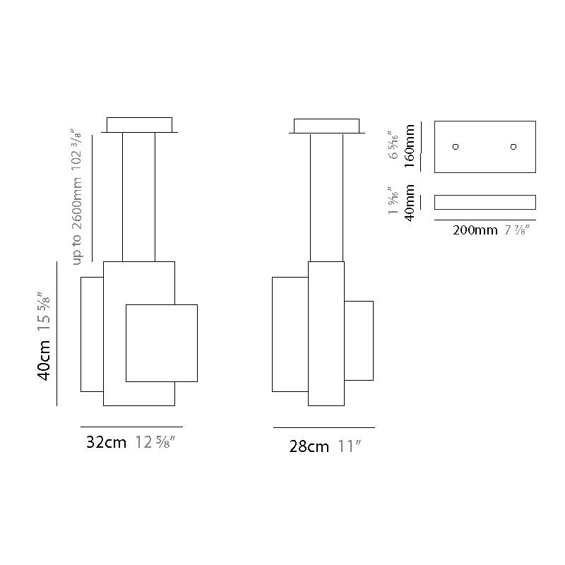 Blox by Quasar – 12 5/8″ x 15 3/4″ Suspension, Pendant offers quality European interior lighting design | Zaneen Design