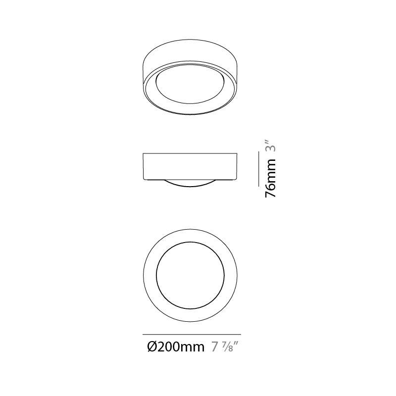 Cilinder by Milan – 7 7/8″ x 3″ Surface, Downlight offers quality European interior lighting design | Zaneen Design / Line art