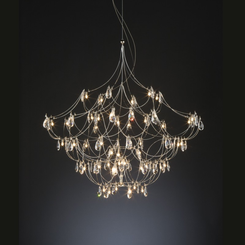 Crystal Galaxy by Quasar – 23 5/8″ x 23 5/8″ Suspension, Ambient offers quality European interior lighting design | Zaneen Design