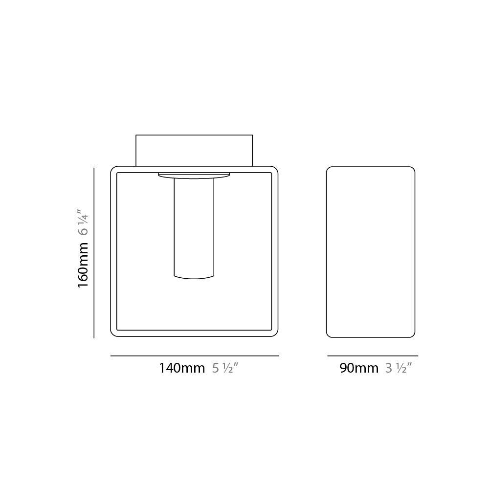 Domino by Panzeri – 5 1/2″ x 6 1/4″ Surface, Ambient offers quality European interior lighting design | Zaneen Design / Line art