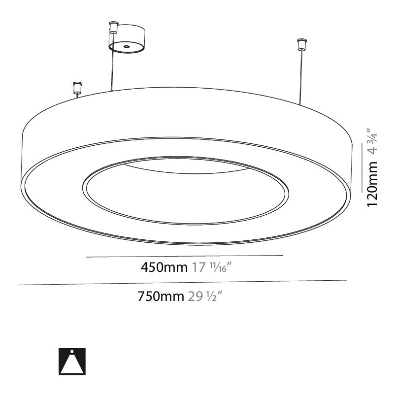 Glorious by Prolicht – 29 1/2″ x 4 3/4″ Suspension, Ambient offers LED lighting solutions   Zaneen Architectural