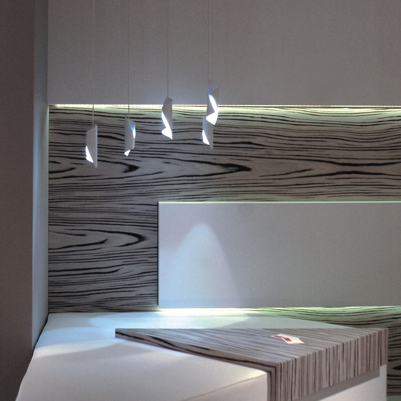 HUE by Knikerboker – 19 11/16″ x 6 5/16″ Suspension, Ambient offers quality European interior lighting design | Zaneen Design