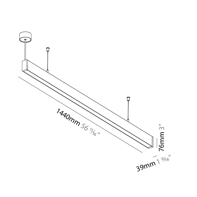 Idaho by Prolicht – 56 11/16″ x 3″ Suspension, Profile offers LED lighting solutions | Zaneen Architectural