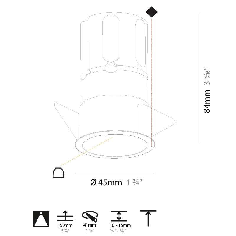 Invader by Prolicht – 1 3/4″ x 3 5/16″ Recessed, Downlight offers LED lighting solutions | Zaneen Architectural