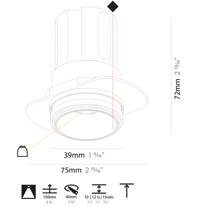 Invader by Prolicht – 1 9/16″ x 2 13/16″ Trimless, Downlight offers LED lighting solutions   Zaneen Architectural