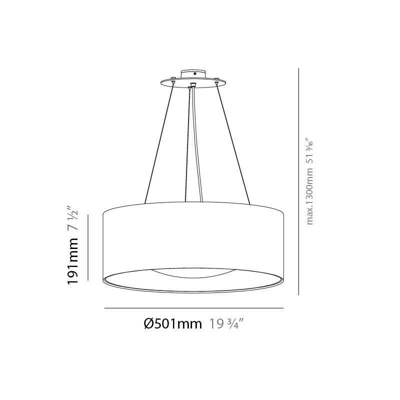 Lid by Milan – 19 3/4″ x 7 8/16″ Suspension, Pendant offers quality European interior lighting design | Zaneen Design / Line art