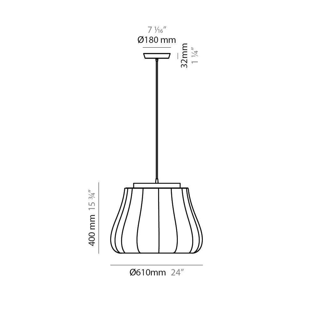 Lily by Fambuena – 24″ x 15 3/4″ Suspension, Ambient offers quality European interior lighting design | Zaneen Design / Line art