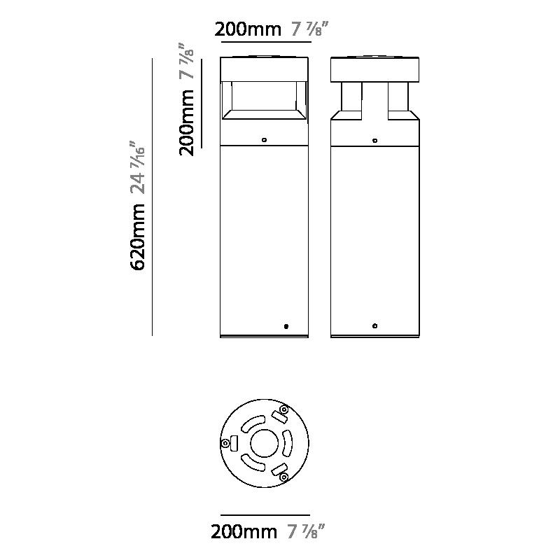 Menhir by Platek – 7 7/8″ x 24 7/16″ Post, Bollard offers high performance and quality material | Zaneen Exterior