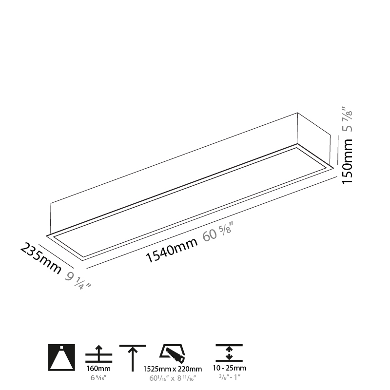 Pi2 by Prolicht – 60 5/8″ Recessed, Ambient offers LED lighting solutions   Zaneen Architectural