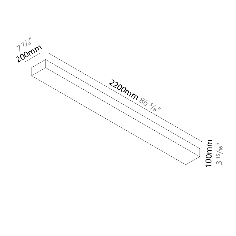 Quadro by Knikerboker – 86 5/8″ x 3 15/16″ Surface, Ambient offers quality European interior lighting design | Zaneen Design