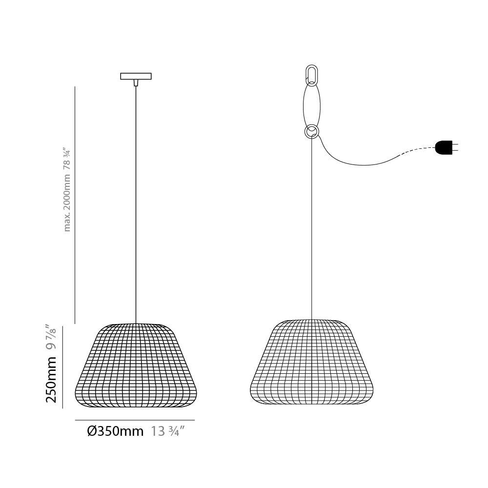 Ralph by Panzeri – 13 3/4″ x 9 13/16″ Suspension, Pendant offers high performance and quality material | Zaneen Exterior
