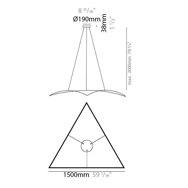 Rita by Ole – 59 1/16″ Suspension, Profile offers quality European interior lighting design | Zaneen Design / Line art