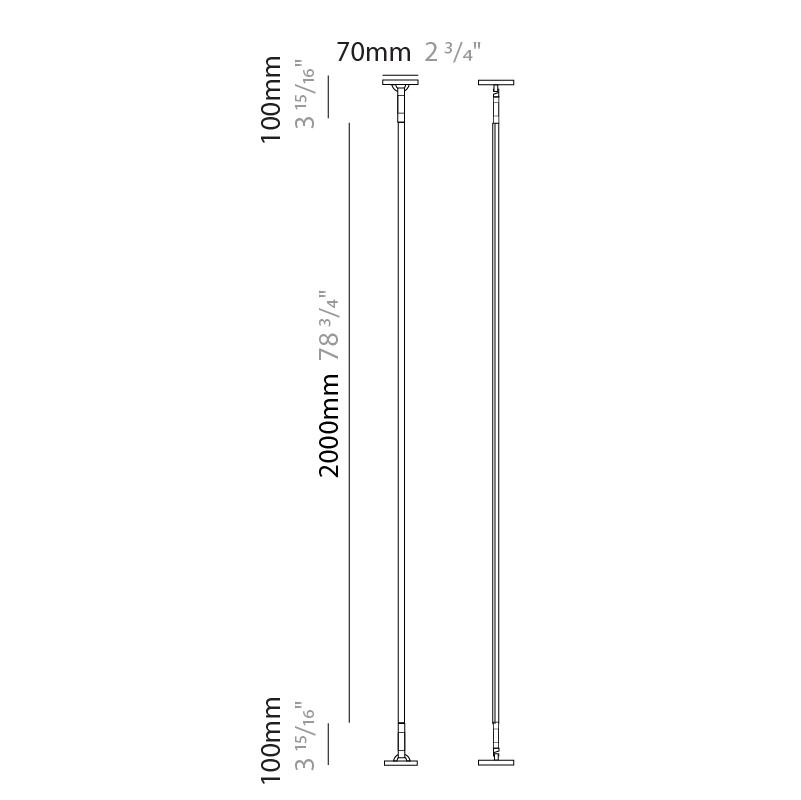 Rita by Ole – 78 3/4″ Surface, Profile offers quality European interior lighting design   Zaneen Design / Line art