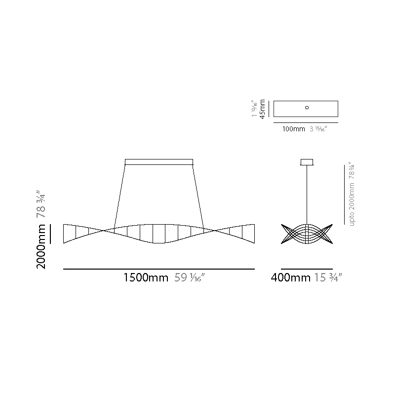 Rosetta by Quasar – 59 1/16″ x 5 7/8″ Suspension, Ambient offers quality European interior lighting design | Zaneen Design / Line art
