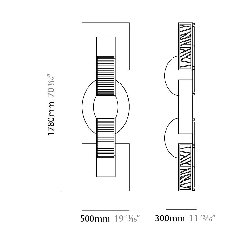 Ruby by Quasar – 19 11/16″ x 70 1/16″ Surface, Wall Effect offers quality European interior lighting design   Zaneen Design / Line art