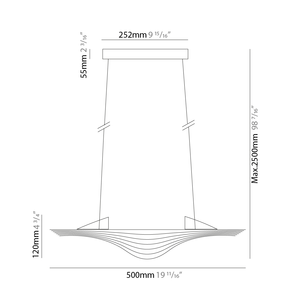 Sestessa by Cini & Nils – 19 11/16″ x 4 15/16″ Suspension, Pendant offers quality European interior lighting design | Zaneen Design