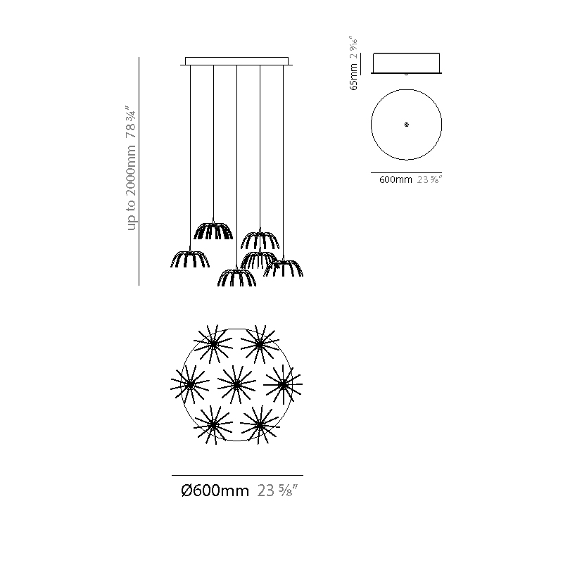 Spica by Quasar – 23 5/8″ x 5 7/8″ Suspension,  offers quality European interior lighting design | Zaneen Design
