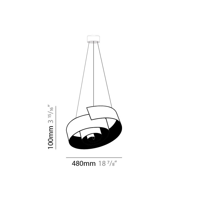 Spirale by Knikerboker – 18 7/8″ x 3 15/16″ Suspension, Pendant offers quality European interior lighting design | Zaneen Design