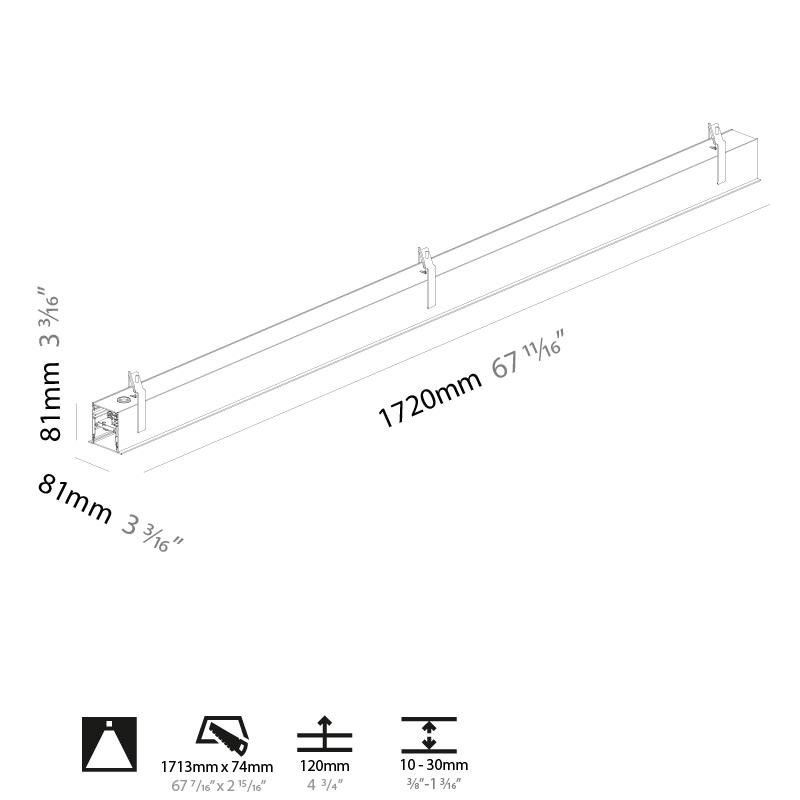 Super-G by Prolicht – 67 11/16″ x 3 3/16″ Recessed, Profile offers LED lighting solutions | Zaneen Architectural