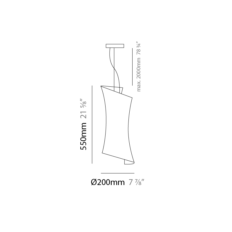 Twister by Panzeri – 7 7/8″ x 21 5/8″ Suspension, Pendant offers quality European interior lighting design   Zaneen Design