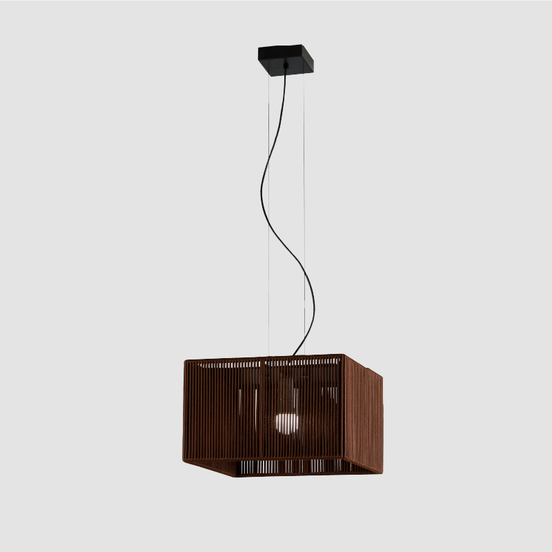 Bass by Ole - Design suspension cubical light with hand-made cord lampshade