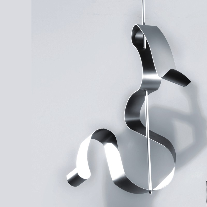 Curve by Knikerboker - curved suspension LED lamp with gold or silver 'leafing' finishes