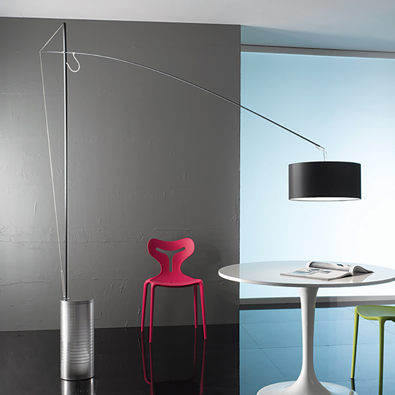 Gru by Icone - Design floor lamp with a natural steel finish adjustable in height