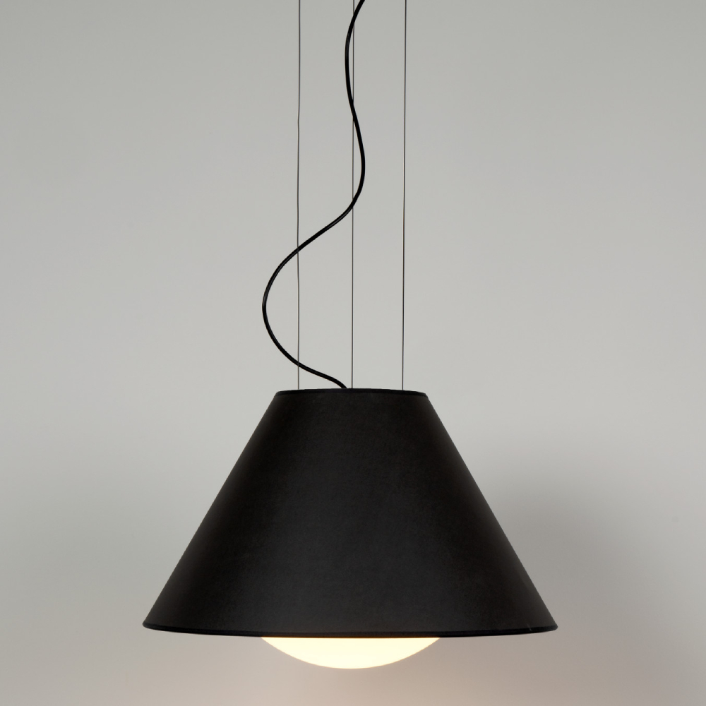 Loll by Milan - Hanging lamp with half-sphere of light and shade in anthracite grey with a golden interior
