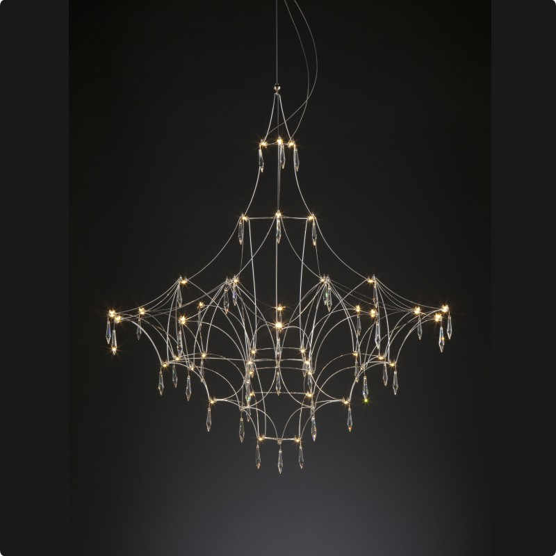 Mira by Quasar - Elegant chandelier lamp with nickel finish and Swarovski crystal accessories