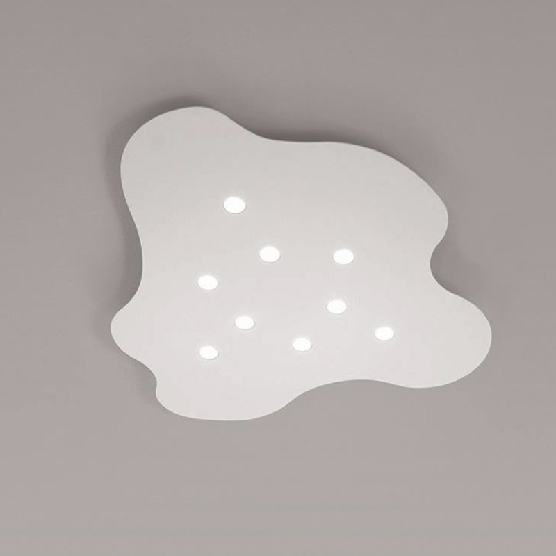 Nubes by Icone - Surface ceiling irregular thinly shaped aluminum fixtures includes shallow LED spots