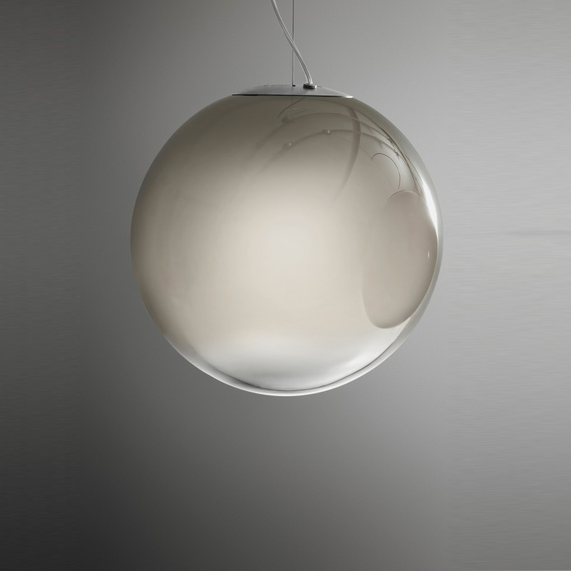 Smoke by Panzeri - Suspension lamp with blown glass globes shade smokey effect finishes