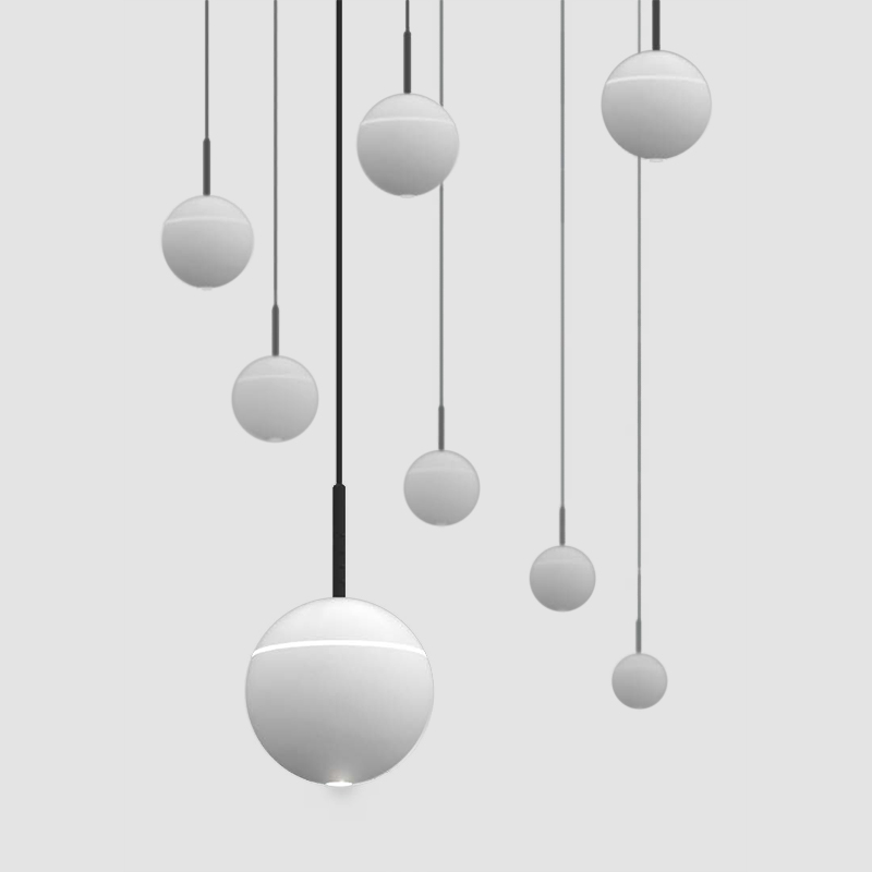 Snooker by Prolicht - Architectural interior lighting system, very flexible and functional spherical pendant lamp for creative installlation