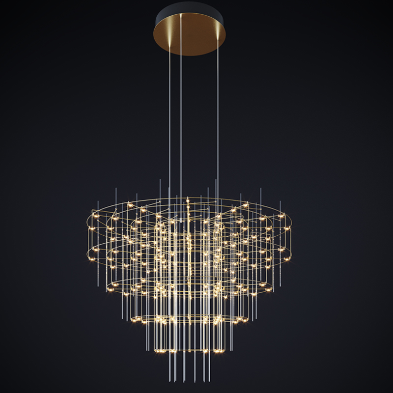 Spy by Quasar - Classic chandelier shape remade in a new configuration with symmetrical circles