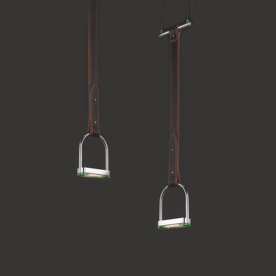 Stirrup by Quasar - Pendant light fixture made from leather and aluminium