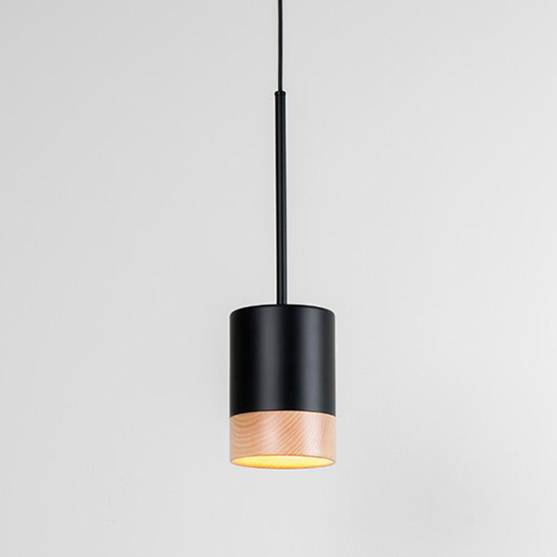 Third by Milan - pendant lamp woth matte black lacquer and wood finishes