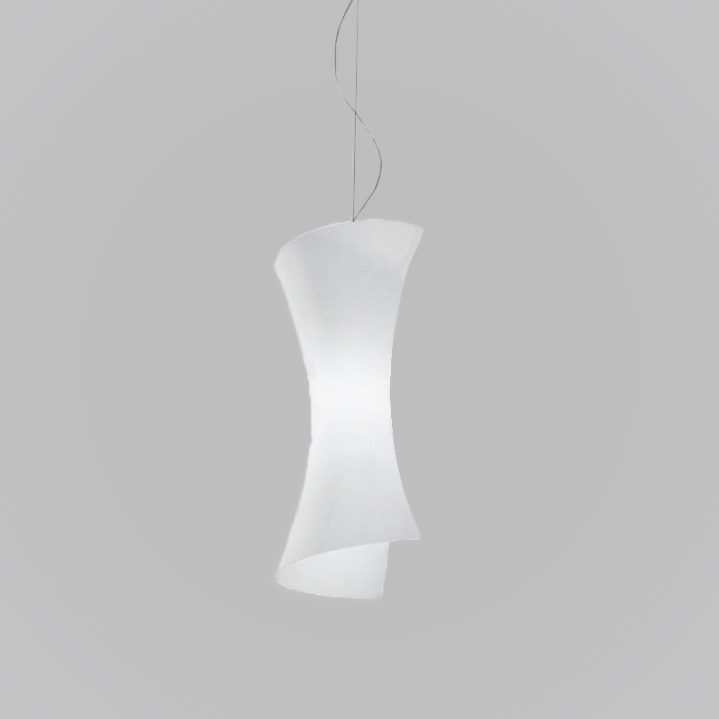 Twister Panzeri - Pendant lamp in a matte nickel metal finish with a fixture made of white matte glass